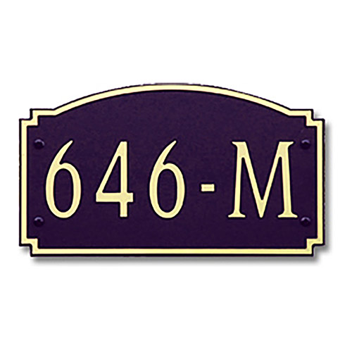 Dekorra 646H-L-GB - Large Designer Shape Gold on Black Custom Address Plaque (Horizontal)