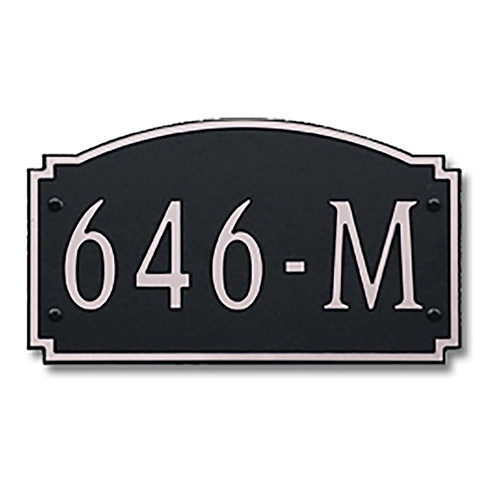 Dekorra 646H-M-NB - Medium Designer Shape Nickel on Black Custom Address Plaque (Horizontal)