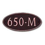 Dekorra 650H-L-CB - Large Oval Shaped Copper on Black Custom Address Plaque (Horizontal)