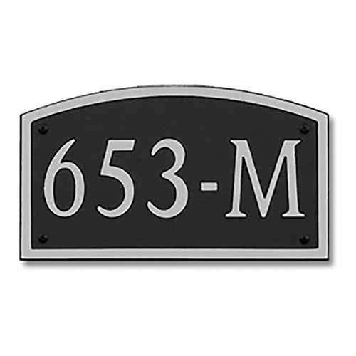 Dekorra 653H-M-NB - Medium Designer Shaped Nickel on Black Custom Address Plaque (Horizontal)