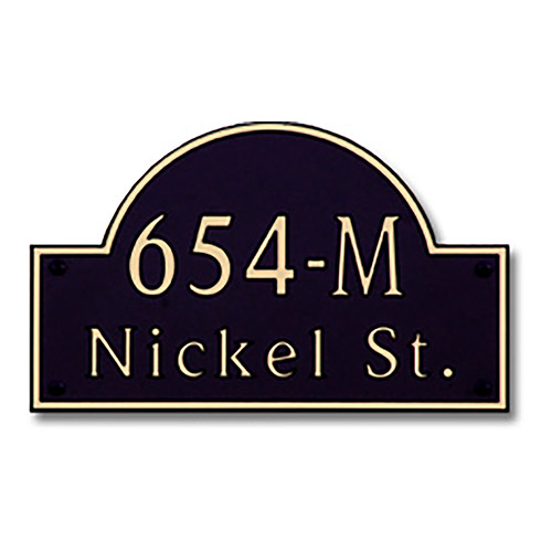 Dekorra 654H-L-GB - Large Designer Shaped Gold on Black Custom Address Plaque (Horizontal)