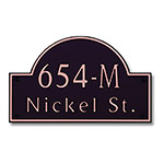 Dekorra 654H-M-CB - Medium Designer Shaped Copper on Black Custom Address Plaque (Horizontal)