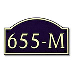 Dekorra 655H-L-GB - Large Designer Shaped Gold on Black Custom Address Plaque (Horizontal)