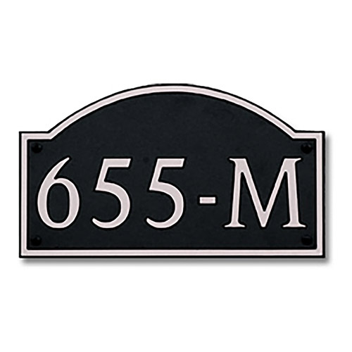 Dekorra 655H-L-NB - Large Designer Shaped Nickel on Black Custom Address Plaque (Horizontal)