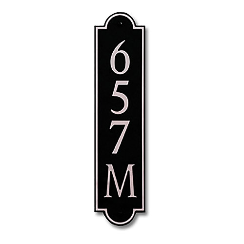 Dekorra 657V-M-NB - Medium Designer Shaped Nickel on Black Custom Address Plaque (Vertical)