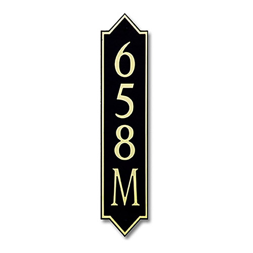 Dekorra 658V-M-GB - Medium Designer Shaped Gold on Black Custom Address Plaque (Vertical)
