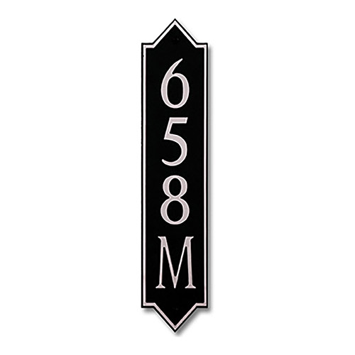 Dekorra 658V-M-NB - Medium Designer Shaped Nickel on Black Custom Address Plaque (Vertical)
