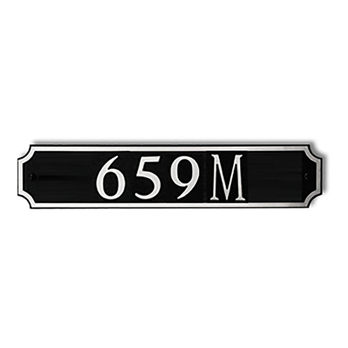 Dekorra 659H-M-NB - Medium Designer Shaped Nickel on Black Custom Address Plaque (Horizontal)