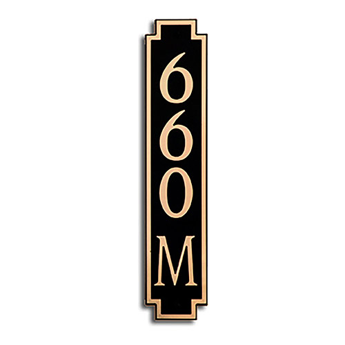 Dekorra 660V-M-GB - Medium Designer Shaped Gold on Black Custom Address Plaque (Horizontal)
