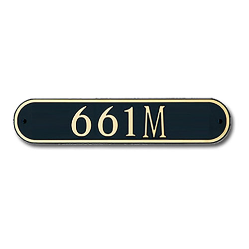 Dekorra 661H-L-CB - Medium Oval Shaped Gold on Black Custom Address Plaque (Horizontal)