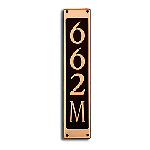 Dekorra 662V-L-GB - Large Rectangle Shaped Gold on Black Custom Address Plaque (Vertical)