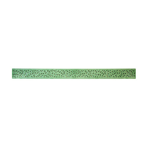 "NDS-554GR Green 36"" plastic Mini Channel drainage grate with botanical pattern."