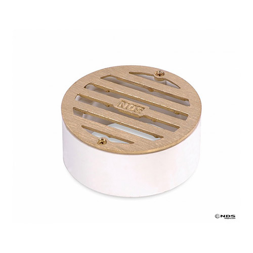 NDS-909B 3 in. Satin Brass Round Grate w/ PVC Collar