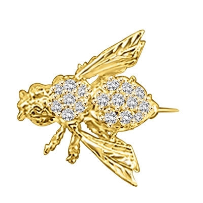 Attractive Bee Pin, 0.85 Cts. T.W. with a bevy of Round Cut Jewels. 14K Solid Gold
