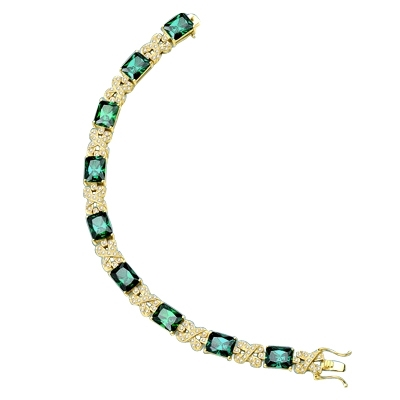 emerald stone,melee ribbons yellowgold bracelet