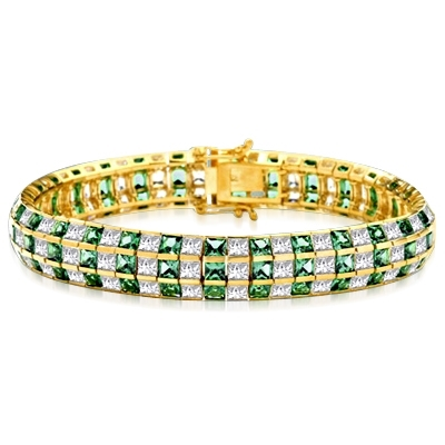 Princess Green Diamond Channel Set Three Row Designer Bracelet