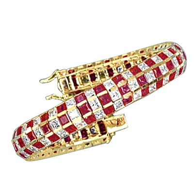 "7"" long Lovely best selling bracelet with 23.25 cts.t.w. of square Ruby Essence and white princess cut stones in 14K Yellow Gold."