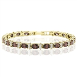 Designer Bracelet With Oval chocolate And Round Brilliant Stones, 12.50 Cts.T.W. In 14K Solid Yellow Gold.