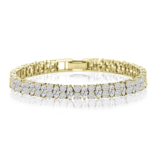Designer Bracelet With Marquise And Round Stones, 14 Cts.T.W. In 14K Solid Yellow Gold.