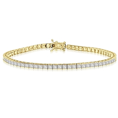"7"" long Tennis Bracelet strung with 67 Princess Cut masterpieces in a mesmerizing array, with double safety clasp. 6.5 Cts. T.W. set in 14K Solid Yellow Gold."