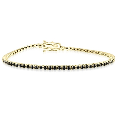 Black Beauty - Delicate Onyx bracelet to subtly fit on your wrist 6.75 inch. 2 Cts. T.W. in 14k Solid Yellow Gold.
