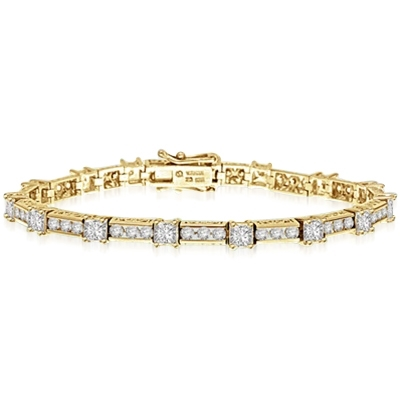 Beautiful Designer Bracelet, with Diamond Essence Princess cut masterpieces linked interestingly with cusp of round accent in ethnic looks. Appx. 7.0 Cts.T. W. in 14k Solid Yellow Gold.