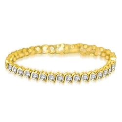 "7 inch tennis bracelet with 0.25 cts. Round stones in ""S"" bar setting. 6.0 Cts. T.W. set in 14K Solid Yellow gold."
