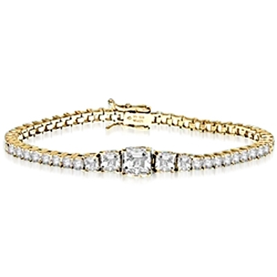 Asscher cut mania. Diamond Essence bracelet in graduated size Asscher cut classic stones, set in prong settings. 2.0 ct. center, 1.0 ct. on each side follwing by 0.5 ct and 0.20 ct all around. Must have one, 7.5 cts.t.w. set in 14K Solid Yellow Gold.