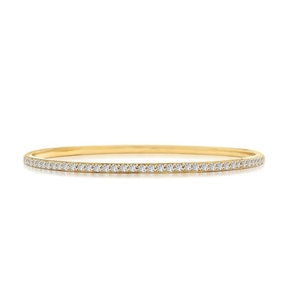 Prong Set Bangle Bracelet with Simulated Round Brilliant Diamonds by Diamond Essence set in 14K Solid Yellow Gold