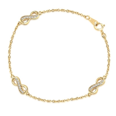 "Infinity Bracelet with 0.20 ct. Round Brilliant Diamond Essece Round Stones. 7"" Length, 14K Solid Yellow Gold."