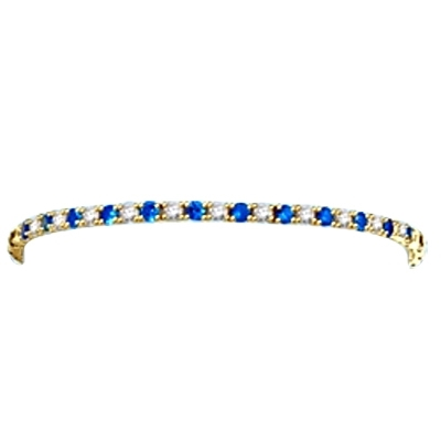 Sapphire-and- Diamond Tennis Bracelet Solid GOld