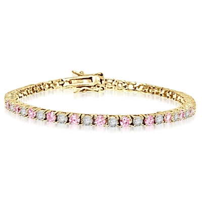 5ct pink & white stone bracelet in Solid Yellow Gold