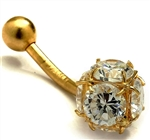 Diamond Essence 14K Solid Gold Belly Button Ring with 3.0 Cts.T.W. Round Brilliant Stones And Screw On Gold Ball.