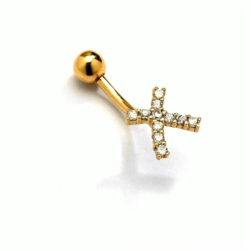 Diamond Essence 14K Solid Gold Belly Button Ring, with 0.25 Ct.T.W. Round Melee And SCREW On Gold Ball.