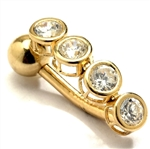 Diamond Essence 14K Solid Gold Belly Button with 0.60 Ct.T.W. Round Melee in Bezel Setting And Screw On Ball.