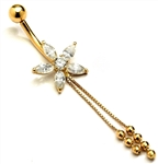 Diamond Essence Designer 14K Solid Yellow Gold Belly Button Ring, with Marquise Floral Arrangement And Delicate Gold Hanging Chain with Screw On Ball.