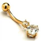 Diamond Essence 14K Solid Gold Belly Button Ring with 1.20 Cts.T.W. Round Brilliant Stones And Screw On Gold Ball.