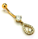 Designer Belly Button Ring in 14K Solid Yellow Gold with 0.85 Ct.T.W. Round Brilliant Stones and Screw On Ball.