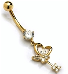 Diamond Essence 14K Solid Gold Belly Button Ring, with Round And Marquise Stones, 1.25 Cts.T.W. And Screw on Gold Ball