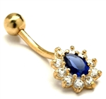 Diamond Essence 14K Solid Gold Belly Button with Sapphire Essence Pear Stone Surrounded By Brilliant Melee. 0.75 Ct.T.W. And Screw On Ball.