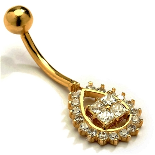 Diamond Essence Designer 14K Solid Gold Belly Button Ring  with 0.50 Ct.T.W. Round Melee Set in Pear Shape And Screw on Gold Ball