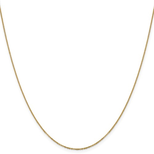 14k solid yellow gold 1.10 mm Flat Cable Chain