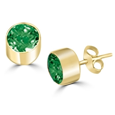 Solid gold emerald stone,tubular bezel setting earring