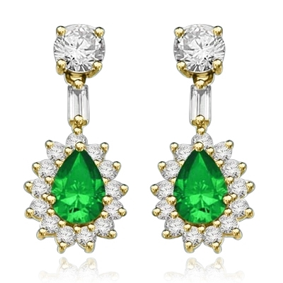 Clip Pearl with Emerald Essence earrings in Yellow