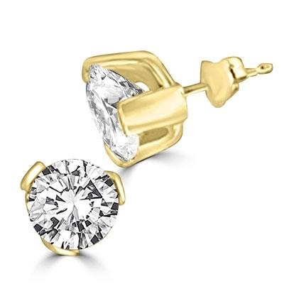 0b02768fe Diamond Essence 14K Solid Gold studs, each bright round-cut stone ...