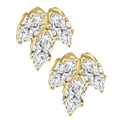 Diamond Essence Marquise Cut stone, 0.5 ct. each, set in floral design, 3.0 Cts.T.W. in 14K Solid Gold.