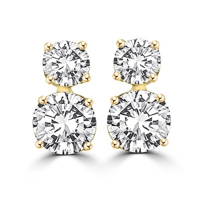 Two stone round diamond solid gold earrings