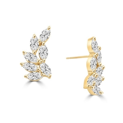 Diamond Essence Designer Earring with Marquise Essence. Appx. 4.25 Cts.T.W. set in 14K Solid Yellow Gold.