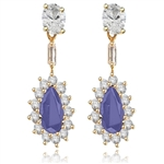 Pear cut sapphire&round stone yellow gold earring