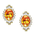 Diamond Essence Earrings in 14K Solid Yellow Gold with 4 ct. Canary Essence center in four prongs setting. Baguettes and round stones on either side makes it designer wear. 10 cts.t.w.